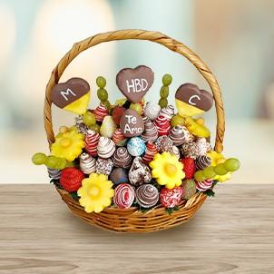 Arreglos Frutales con chocolate belga